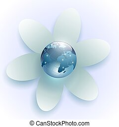 planet earth in the center of the white flower