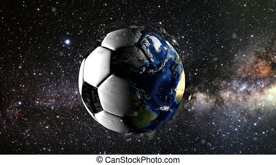 Planet Earth in the form of a ball in space, maps and textures provided by NASA