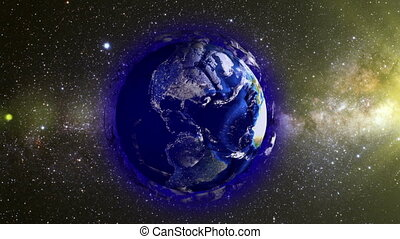 Planet Earth in the form of a ball in space, maps and textures provided by NASA, video loop alpha channel