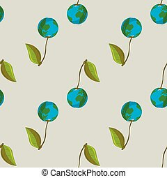 Planet earth in the form of cherry vector seamless pattern