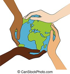 planet earth in the middle of human hands with different skin colors