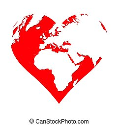 Planet Earth in the shape of a red heart. Love symbol isolated on white background