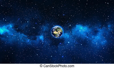 Planet Earth in universe or space, Earth and galaxy in a...