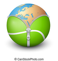 Planet Earth inside tennis ball