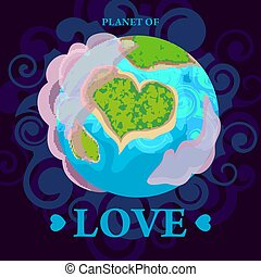 Planet earth is a view from space and earth is in the form of a heart. Vector