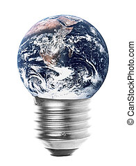 Planet Earth Light Bulb Isolated