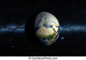 Planet Earth & Milky Way Horizontal 3D Illustration. Africa...