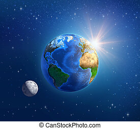 Planet Earth, moonlight and sunshine in deep space