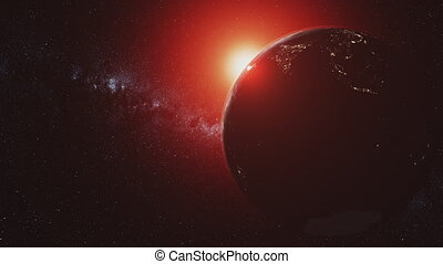 Planet earth motion sunlight illuminate open space - Planet...