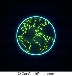 Planet Earth neon sign.