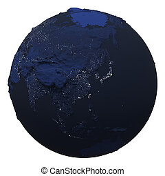 Planet earth night lights. 3D illustration