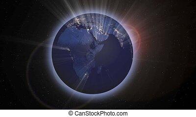 Planet Earth night scene