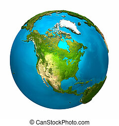 Planet Earth - North America - colorful globe with detailed...