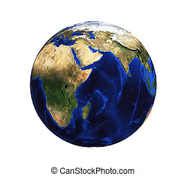 planet earth on a white background without clouds with relief 3D rendering