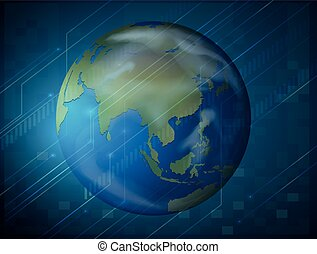 Planet earth on blue background