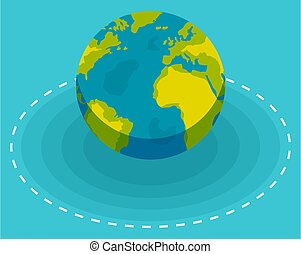 Planet earth on blue background vector illustration. Top view of the planet with shadow