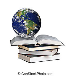 Planet Earth on book. Elements of this image furnished by NASA