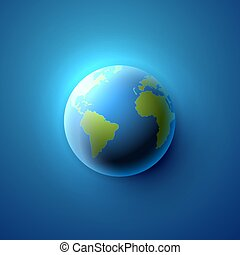 Planet earth on the blue background.
