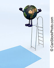 planet earth on trampoline dip in the pool - planet earth...