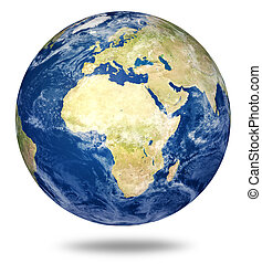 Planet earth on white - Africa and European view (3d source ...