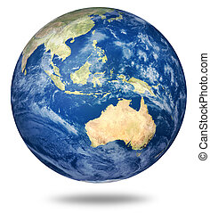 Planet earth on white - Australian view - Planet earth on...