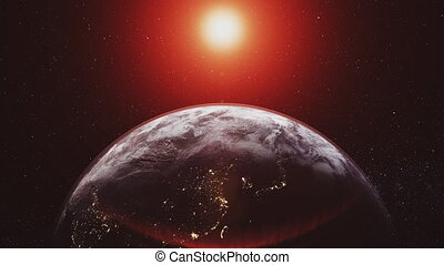 Planet earth orbit zoom in red sunlight radiance - Planet...