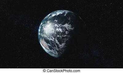 planet Earth orbits against Sun causing fantastic eclipse -...