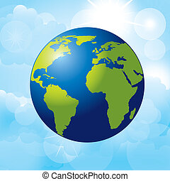 planet earth over sky background vector illustration