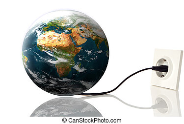 earth - planet earth pluged on electricity on white