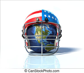 Planet Earth protected by an American football helmet,...