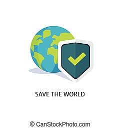 Planet earth protection vector illustration isolated, flat globe with shield