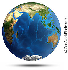 Planet Earth real relief and water
