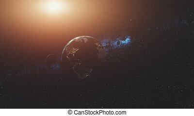 Planet earth rotate moon orbit soft sun beam glow - Planet...