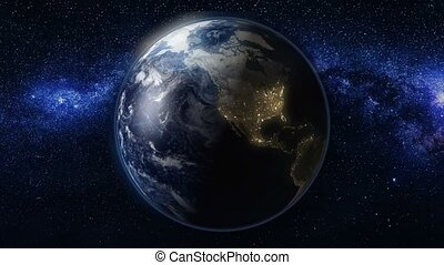 Planet Earth rotate, spinning on its axis in space