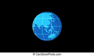 Planet Earth Rotates Flat Style Version 1
