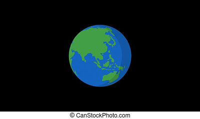 Planet Earth Rotates Flat Style Version 2