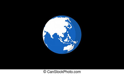 Planet Earth Rotates Flat Style Version 3