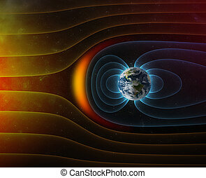 planet Earth s magnetic field against Sun s solar wind 3d illustration