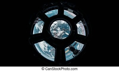 Planet Earth seen from the ISS. Earth as seen through window...