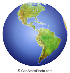 Planet Earth showing North, Central, and South America. (painstakinly done with Illustrator and Photoshop using electronic tablet for textures)