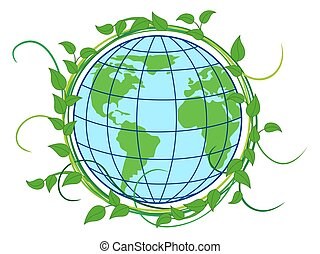 Planet Earth shrouded in green wreath