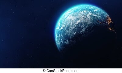 Planet Earth Slowly Rotating day to night Loop Animation