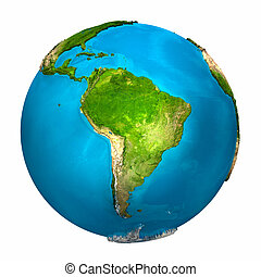 Planet Earth - South America - colorful globe with detailed...
