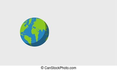 planet earth spinning icons animation design