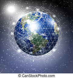 planet earth - our planet earth with communication links...