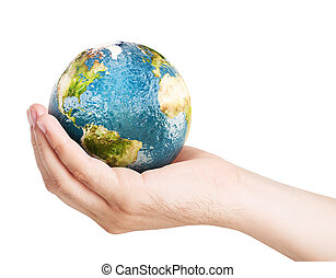 Planet earth on palm. Elements of this image furnished by...