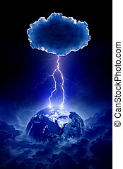 Planet Earth struck by lightning - Abstract nature force...