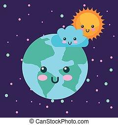 planet earth sun and cloud kawaii weather