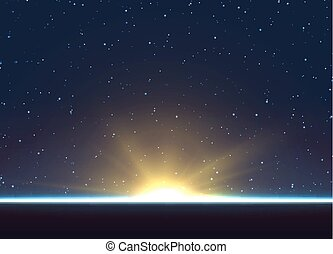 Planet earth sunrise.. Globe horizon atmosphere.
