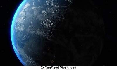 Planet Earth. Sun's rays from the rising sun illuminate the Earth. Elements of this image furnished by NASA. 4k Ultra HD. 3D Render. Images from NASA